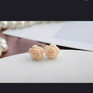 Jewelry - White Rose with Gold Detail Earring Studs